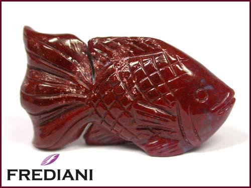 Poisson en jaspe rouge naturel