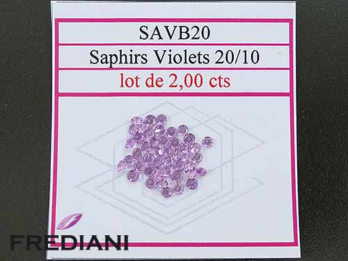 Saphirs violets ronds taille brillant