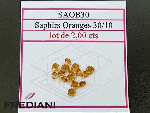 Saphirs oranges ronds taille brillant
