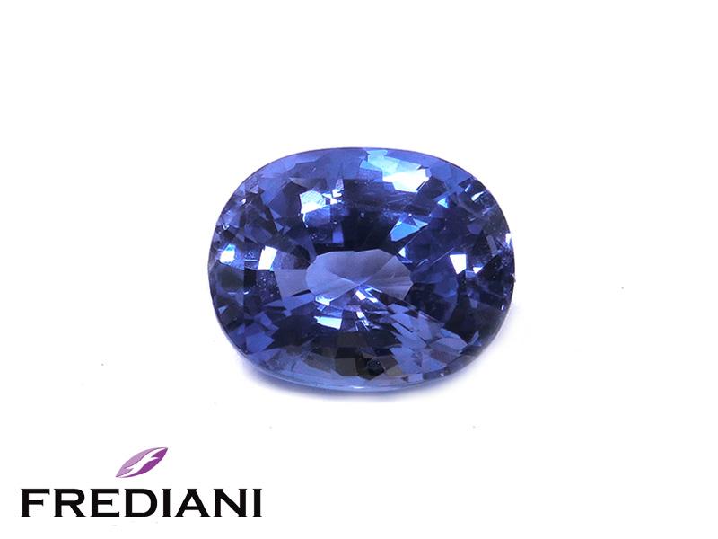 Saphir bleu ovale certifié