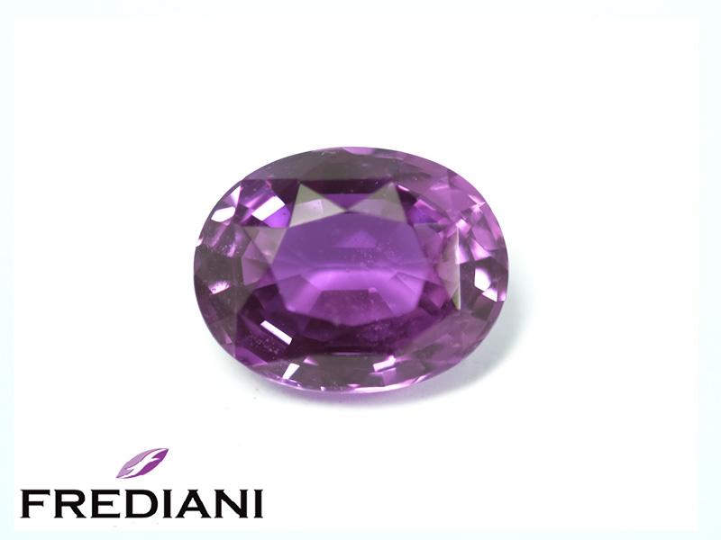Saphir violet ovale naturel certifié