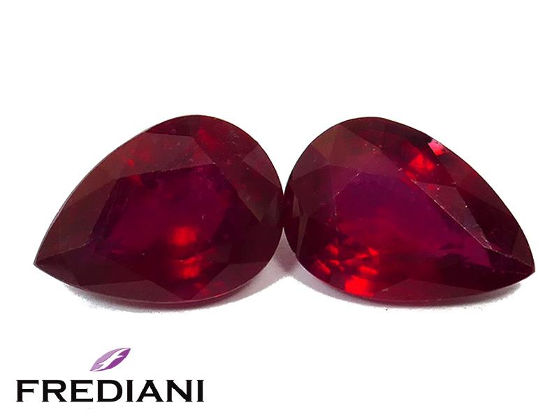 Appairage de rubis poires traités